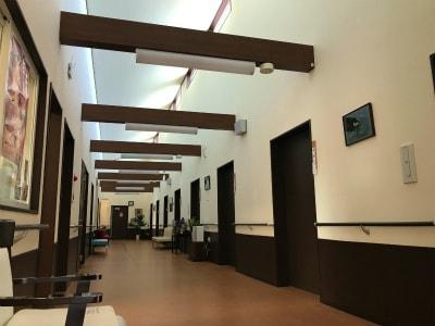 廊下は天井が吹き抜けになっており、開放感があり日が差しとても明るいです